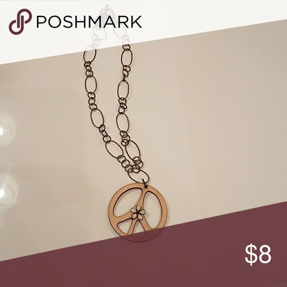 Peace sign necklace Wooden peace sign on gold colored chain Jewelry Necklaces