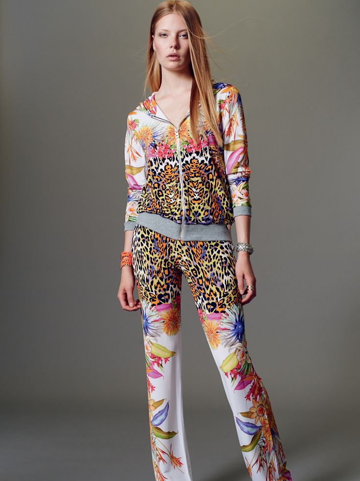 """Naughty Dog SS15 soft jersey viscose cardigan & pants with """"Tropical animalier"""" prints."""