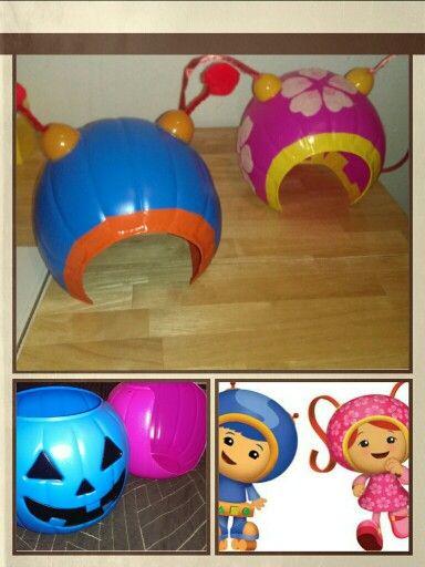 Team UmiZoomi helmets: pipe cleaners, plastic easter eggs, duct tape, felt, ribbon, glue gun.