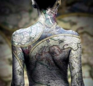 24 best maps as art images on pinterest maps worldmap and cartography full body globe or world map tattoo gumiabroncs Image collections