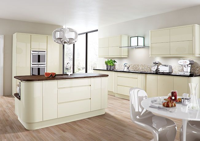 glossy cream kitchen cabinets - Google Search