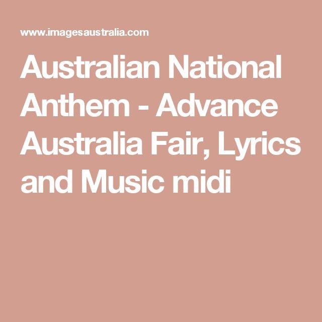 Australian National Anthem - Advance Australia Fair, Lyrics and Music midi