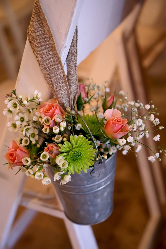 Galvanized Pail And Fresh Flower Wedding Ceremony Aisle Decorations