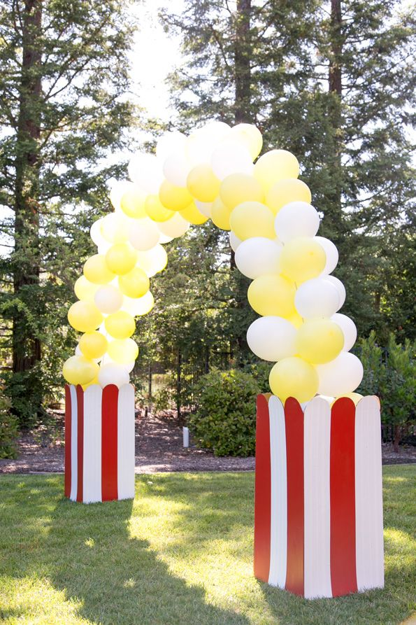 DIY Balloon Arch by Evite Popcorn stand for DIY popcorn bar for fetes etc https://www.burtonandburton.com/latex-arch-column-ki-DZ88554.asp