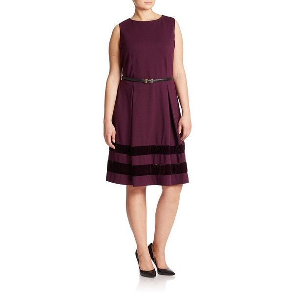 Calvin Klein Women's Plus Striped Fit-And-Flare Dress ($54) ❤ liked on Polyvore featuring plus size women's fashion, plus size clothing, plus size dresses, red, red striped dress, purple fit and flare dress, purple dresses, fit and flare dress and red a line dress