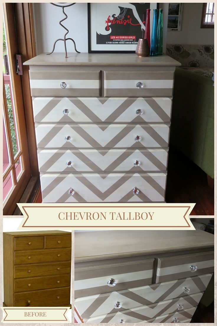 Boring pine tallboy brought to life with a chevron pattern in Old White and Coco chalk paint. The look is complete with the addition of crystal handles.