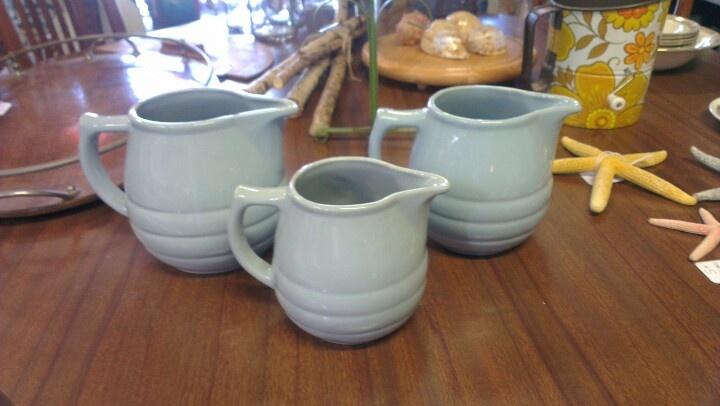 Three little blue jugs.