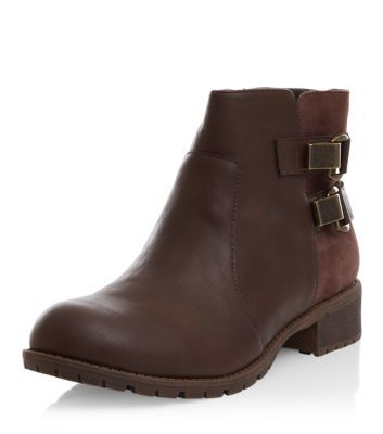 Dark Brown Clip Side Biker Boots