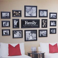 Black 15 Piece FAMILY Multi Picture Photo Frame Frames Wall Set Collage Photos