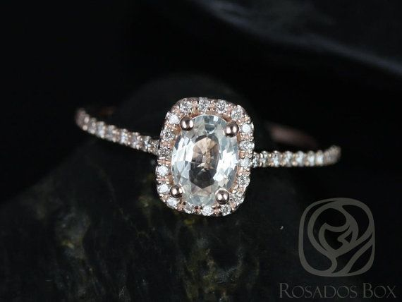 Romani 7x5mm 14kt Rose Gold White Sapphire and Diamonds Cushion Halo Engagement Ring (Other Center Stone Available Upon Request)