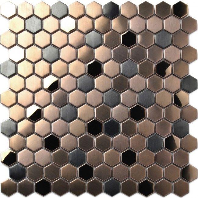 Hexagon Stainless Steel Brushed Mosaic Tile Bronze Copper Color Black Bathroom Shower Floor Tiles Tstmbt021 Shower Floor Tile Metal Mosaic Tiles Bronze Tiles
