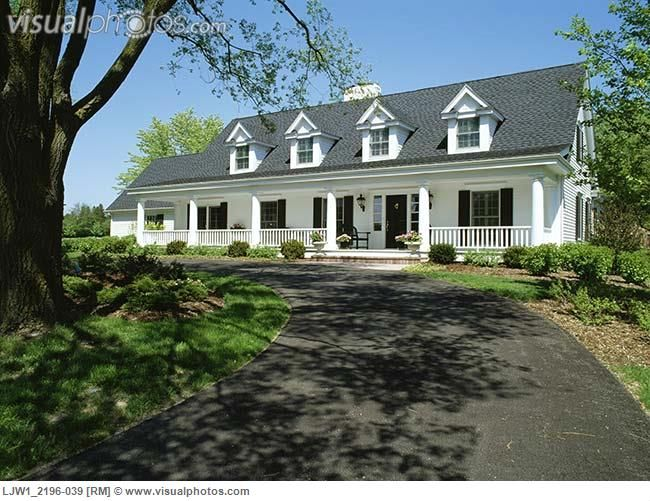 Exteriors two story single family house traditional cape cod black shutters door and shingles - One story houses families ...