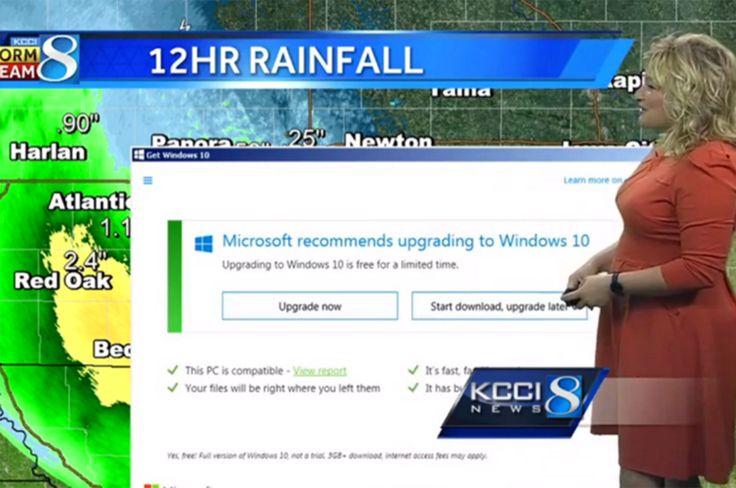 Windows 10 upgrade notice disrupts live TV weather broadcast | Tech | Lifestyle | The Independent