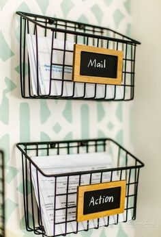 DIY Industrial Wire Mail Baskets (from a $5 Cleaning Caddy)