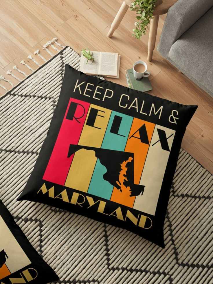 MARYLAND US STATE MAP  KEEP CALM & RELAX   This is a the perfect gift for yourself, your friends and your family members. / It can also be a great present, token of appreciation and souvenir too. / Receiver of this gift will be most delighted and appreciate your taste of choice. / It is indeed a wonderful gift.#FloorPillow #Homedecor #Hugs #Gifts  #Largepillow #FloorCushions #Christmasgifts #presents #gifts #Retro #Vintage #Oldies #RetroHomeDecor  #VintageHomeDecor
