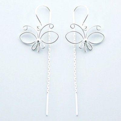 Sterling Silver Butterfly Threader Earrings