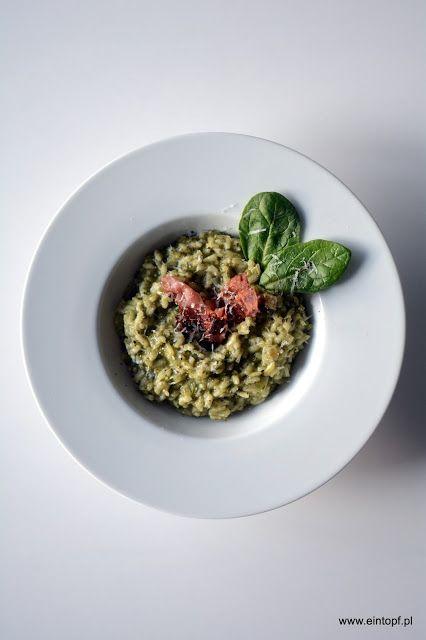 eintopf: risotto ze szpinakiem, gorgonzolą i chrupiącym boc...
