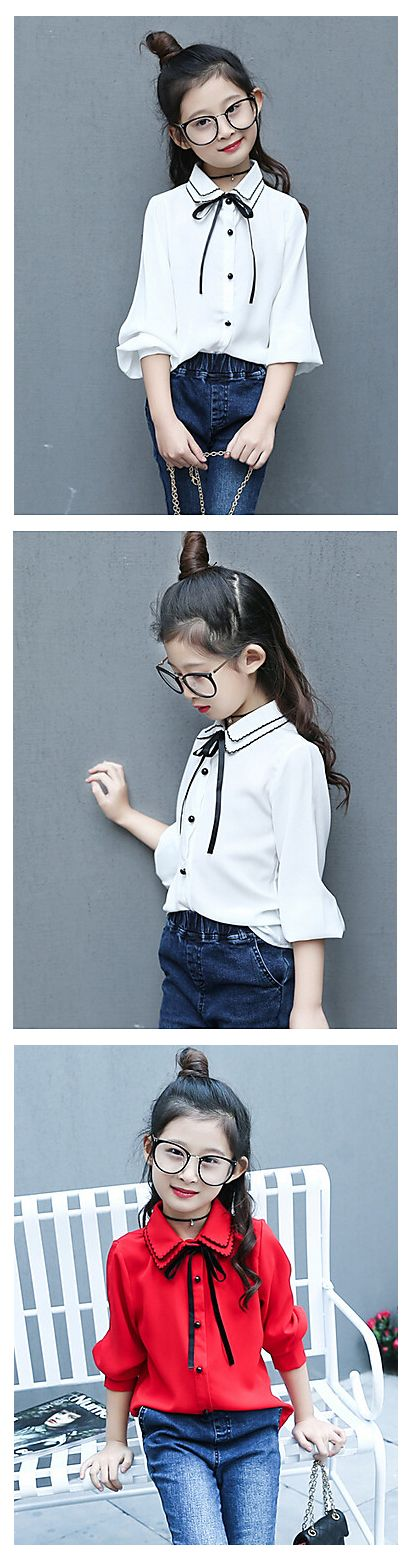 Little fashionista elegant long sleeve girl's shirt/ blouse. Comes in red and white colors at $19.99