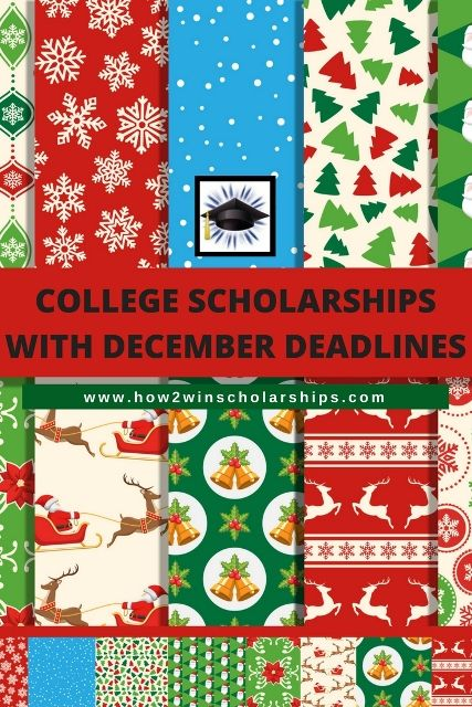 Here is a list of college scholarships with December deadlines for you or your student. Save this page and apply apply apply for as many as possible!