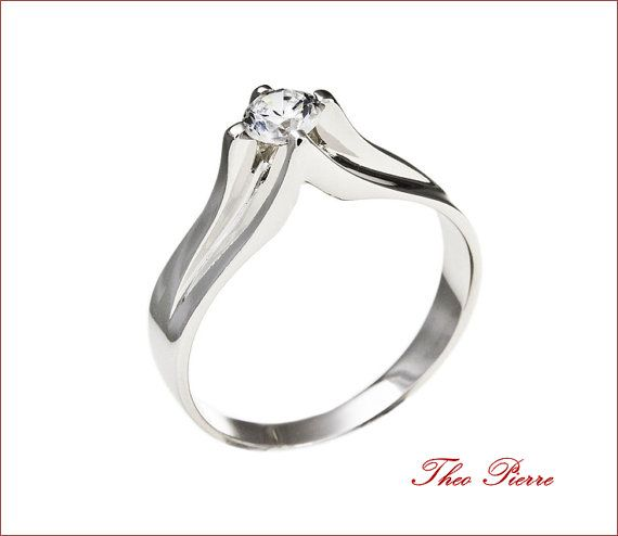 Solitaire Ring, Wedding Ring, Engagement Ring.Gold 14K