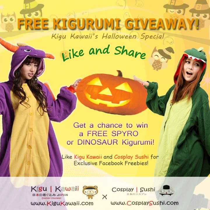✰ Cosplay Sushi's Special Halloween Giveaway! ✰  GRAB A CHANCE to be a mischievous creature just like this kigurumi with a set of your own Royal Purple Spyro and Dinosaur kigurumi onesie!  How to join?  https://www.facebook.com/photo.php?fbid=177658272424875&set=a.137265316464171.1073741830.137199429804093&type=1&relevant_count=1