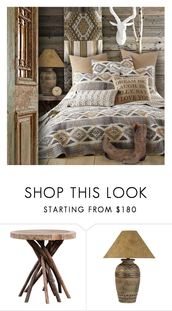 """""""Southwestern Bedroom"""" by debraelizabeth ❤ liked on Polyvore featuring interior, interiors, interior design, home, home decor, interior decorating, Universal Lighting and Decor, Ariat and bedroom"""