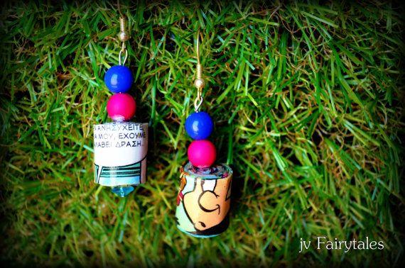 Paper Earrings Comic Book Earrings by jvFairytales on Etsy