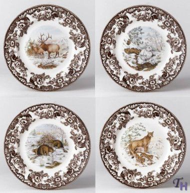 Spode Woodland American Wildlife Winter Scenes Dinner Plates: Another traditional option for dinnerware.