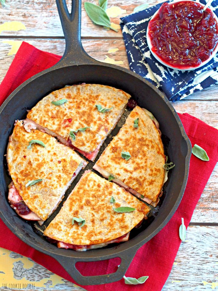 Thanksgiving Leftovers Quesadilla made with 3 cheeses, turkey, cranberry sauce, and sage! BRILLIANT! I could eat this year round! | www.thecookierookie.com |