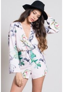 Oh My Love Wrap Playsuit 3/4 Sleeves Canary Palms