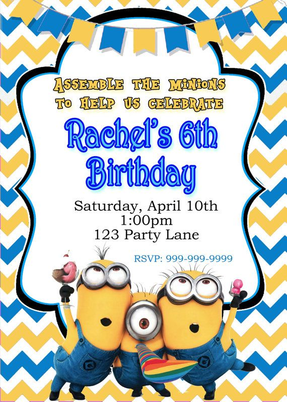 minion birthday invitation with free thank you by onesweetwirl