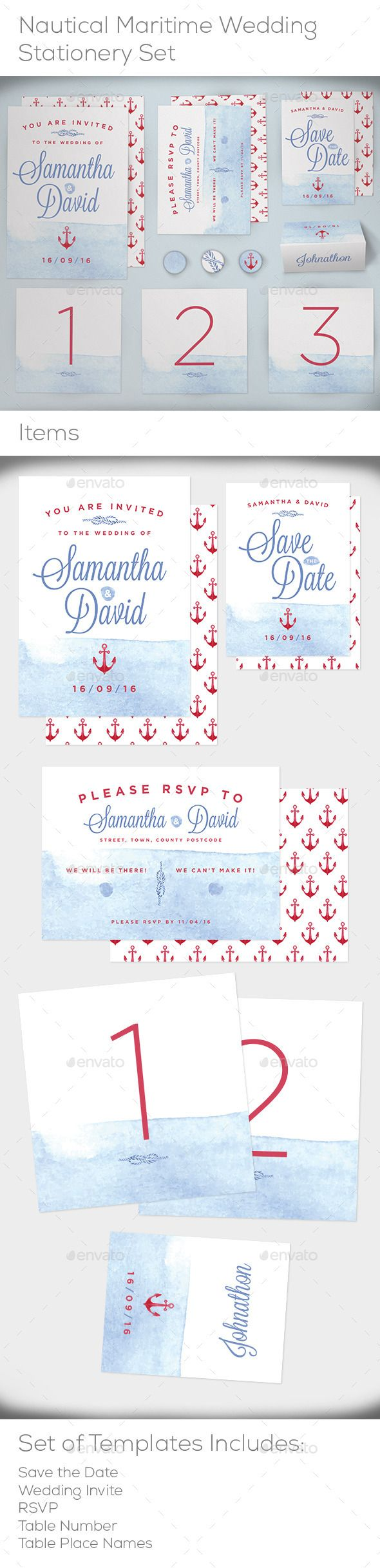 Nautical Maritime Wedding Stationery Set Templates #design Download: http://graphicriver.net/item/nautical-maritime-wedding-stationery-set/11628661?ref=ksioks