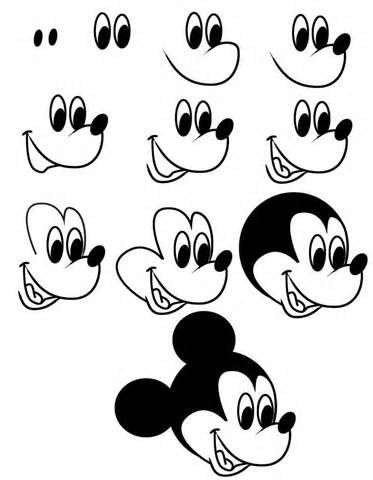 cartoon drawing of mickey---add a bow and eyelashes to make it minnie mouse