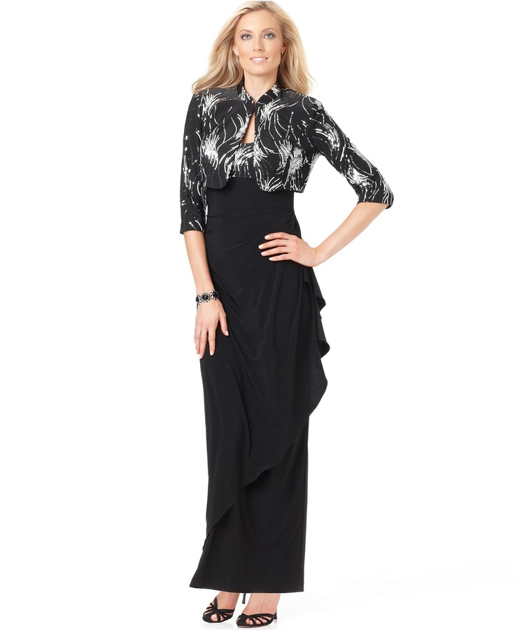 Alex Evenings Dress and Jacket, Sleeveless Sequined Ruffled Evening Gown - Womens Dresses - Macy's $98 T8 y 10