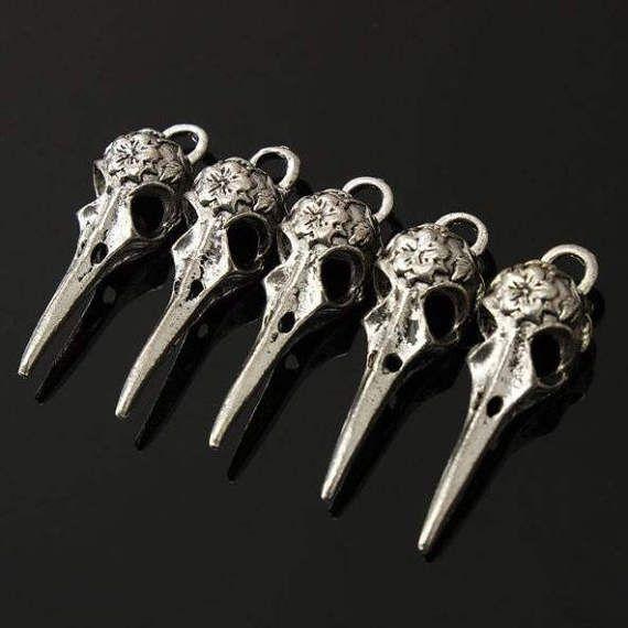 Charm Charms Skull Skulls Bird Pendant Necklace by SuppliesDiy