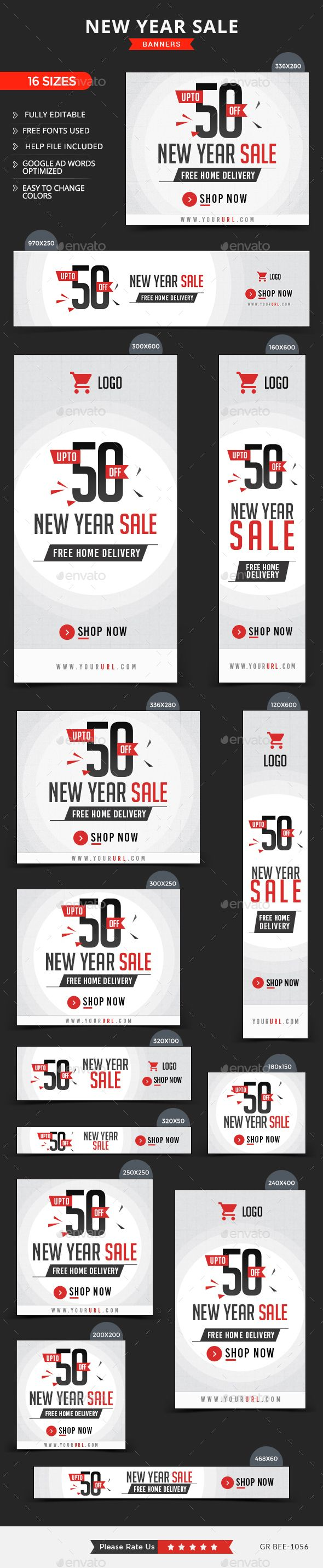 New Year Sale Web Banners Template PSD #design #ad Download: http://graphicriver.net/item/new-year-sale-banners/14164073?ref=ksioks