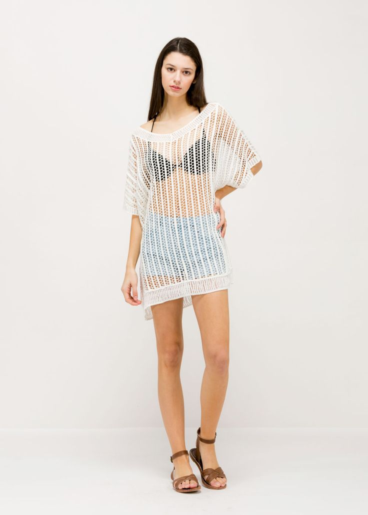 Fishnet Poncho - White ...................... #lookbym #spring #summer #clothing #tops #coverups #ponchos #collections #cotton #white #basic #neutrals #shortsleeves #musthave #trendy #ootd #beachwear #summertime #dressy #cute #sheer