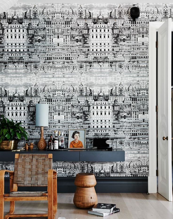 Modern living room with statement wallpaper Riflesso by Cole and Son