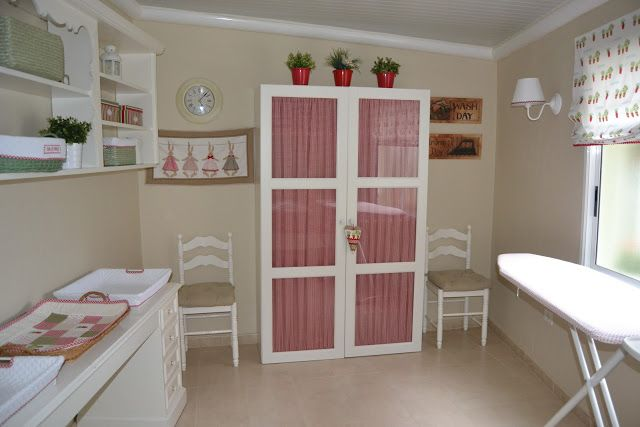 Moments of Sewing - this is her laundry room, but would work in a sewing room.  So cute!