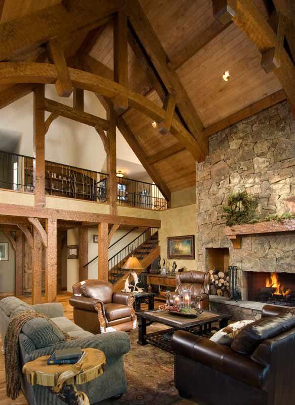 Loft Fireplace On The Side Wall Like Timber House Timber Frame Homes Log Homes