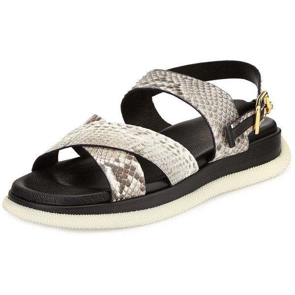 Versace Men's Leather Snake-Print Sandal (€635) ❤ liked on Polyvore featuring men's fashion, men's shoes and men's sandals