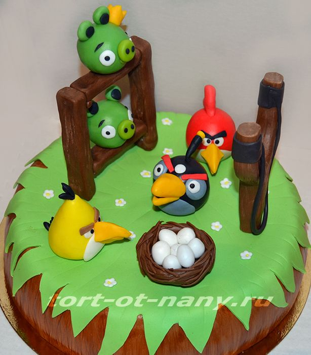 Торт на тему Angry Birds cake