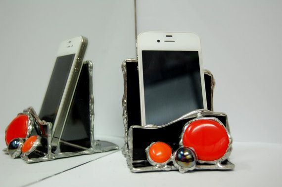 Stained Glass iPhone Stand Smartphone Stand Dock by GlassGadgets, $36.00