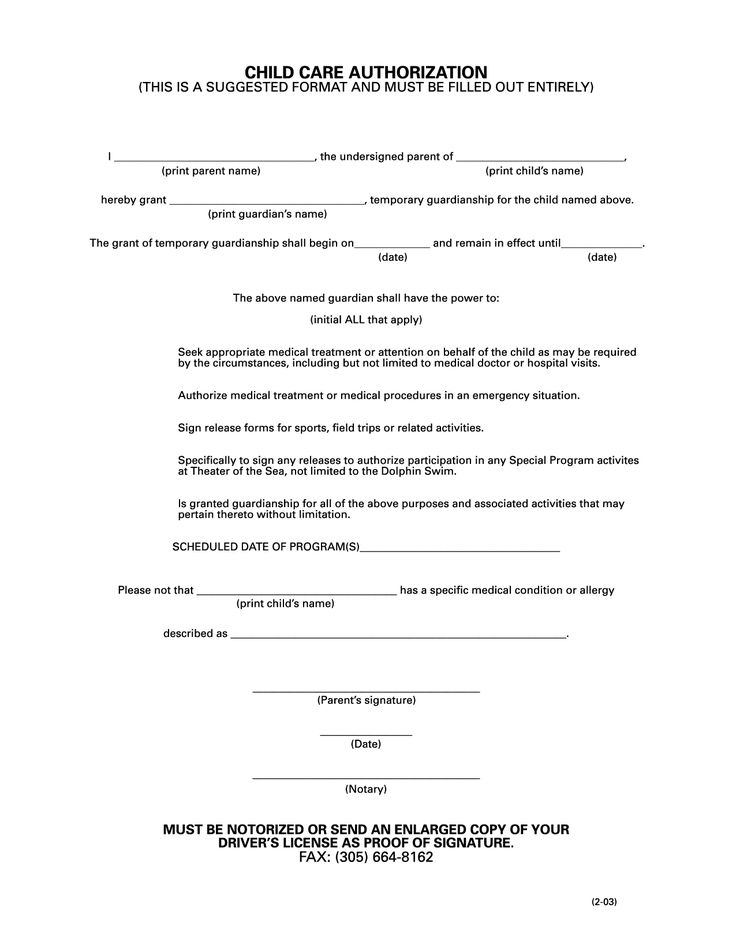 authorization letter for care child how write sample lettermple form