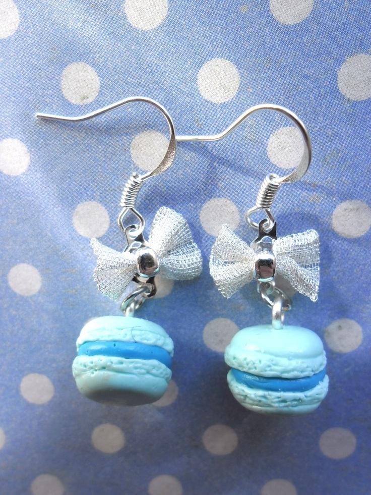 Boucles d'oreille macaron bleus                                                                                                                                                                                 Plus