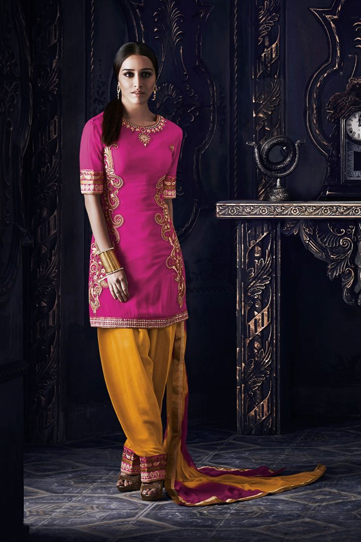 Shraddha Kapoor Georgette Patiala Salwar Kameez - $91.17