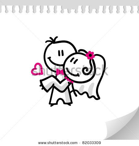 cheerful wedding couple on realistic paper sheet - stock vector