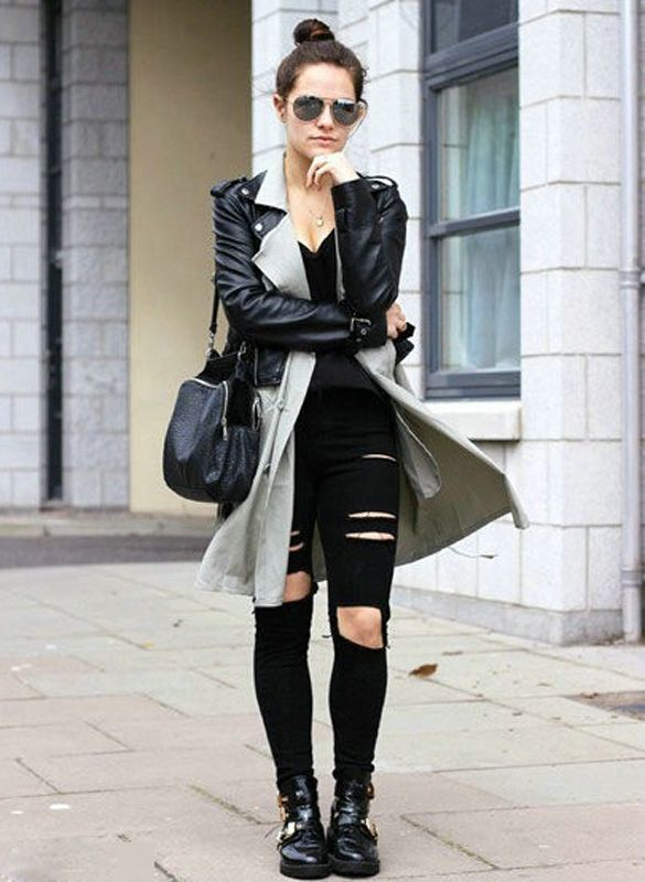 Korea Fashion Women Casual Black High Waist Hole Knee Skinny Pencil Pants Slim Trousers