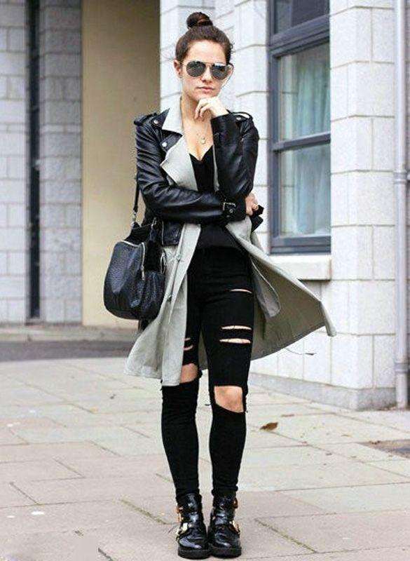 Korea Fashion Women Casual Black High Waist Hole Knee Skinny Pencil Pants Slim Trousers