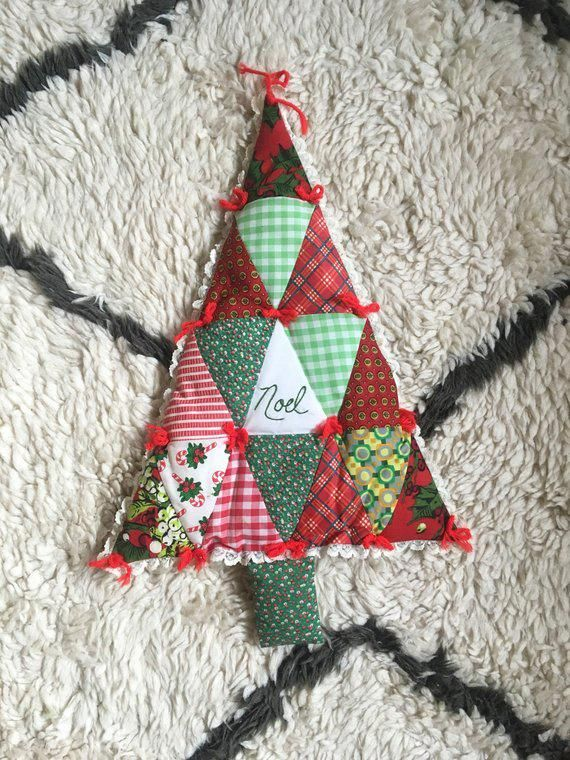 Eclectic Christmas 2019 Vintage Patchwork Christmas Tree Wall Hanging / Vintage Christmas